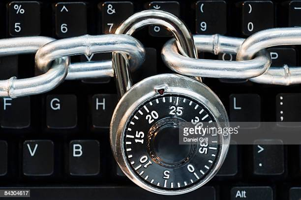 Lock on chain computer keyboard
