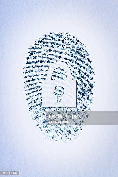 Lock outline over a fingerprint of a males index finger