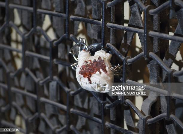 A lock sealed by the Indian Central Bureau of Investigation on the entrance the Brady House branch of the Punjab National Bank is seen in Mumbai on...