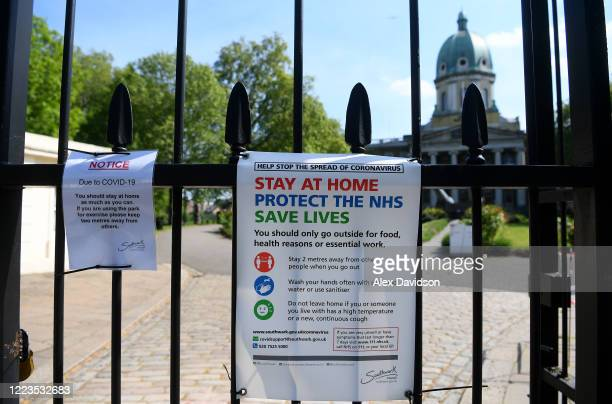 Lockdown posters are seen outside the Imperial War Museum on May 07, 2020 in London, England United Kingdom. The UK will commemorate the 75th...