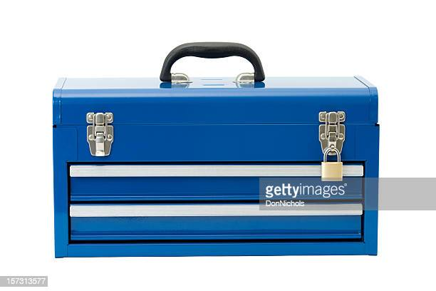 locked blue toolbox - toolbox stock photos and pictures