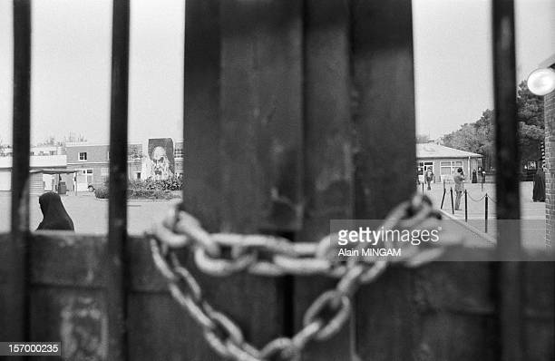 Locked gate at US embassy during the hostage crisis in which 52 Americans were held hostages during 444 days from November 4 1979 to January 20 1981...