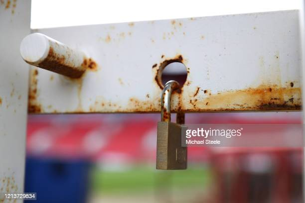 Locked gates at Ashton Gate Stadium home of Bristol City FC and Bristol Bears Rugby following the suspension of all matches due to the Coronavirus...