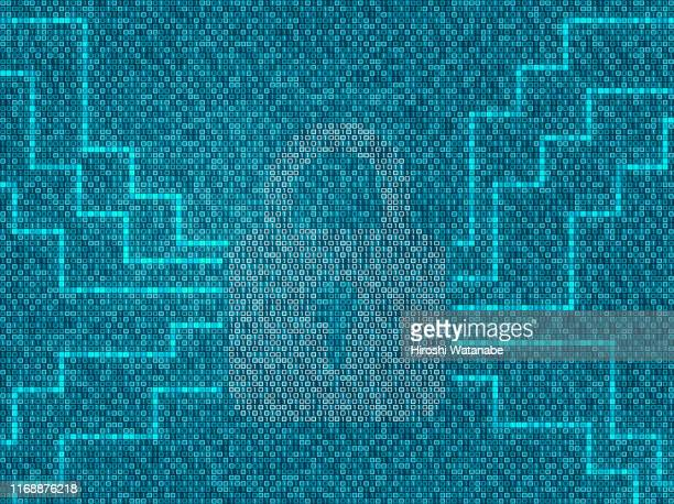 locked key made of binary code - computer virus stock pictures, royalty-free photos & images