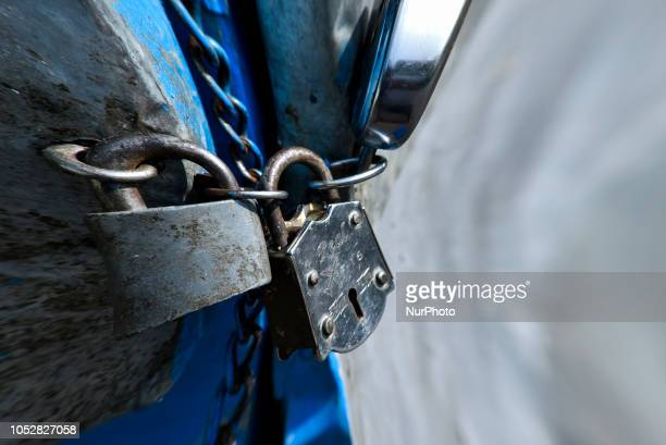 Locked shop in Panbazar during 12hour Assam Bandh in Guwahati Assam India on Tuesday October 23 2018 46 organizations have called the bandh to...