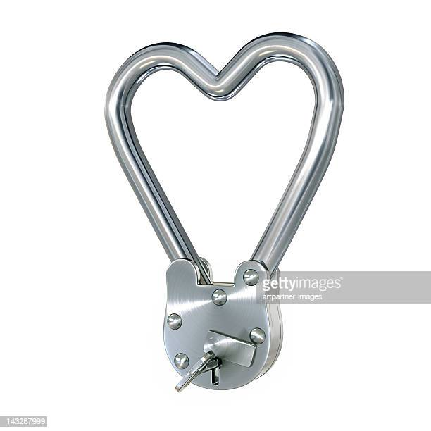 Locked steel heart with a padlock on white