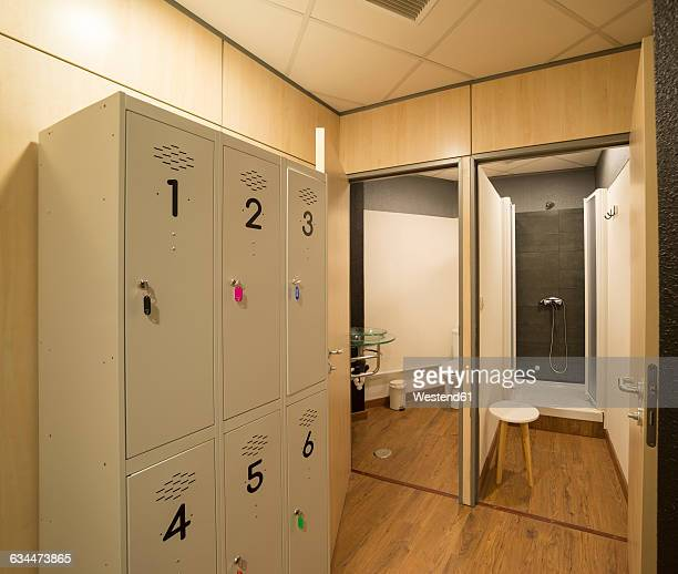 Locker room in a gym