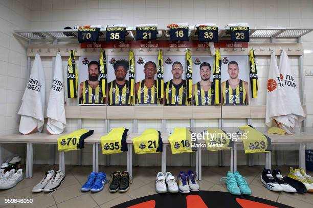 Locker room of Fenerbahce Dogus Istanbul before the start of the 2018 Turkish Airlines EuroLeague F4 Semifinal B game between Fenerbahce Dogus...