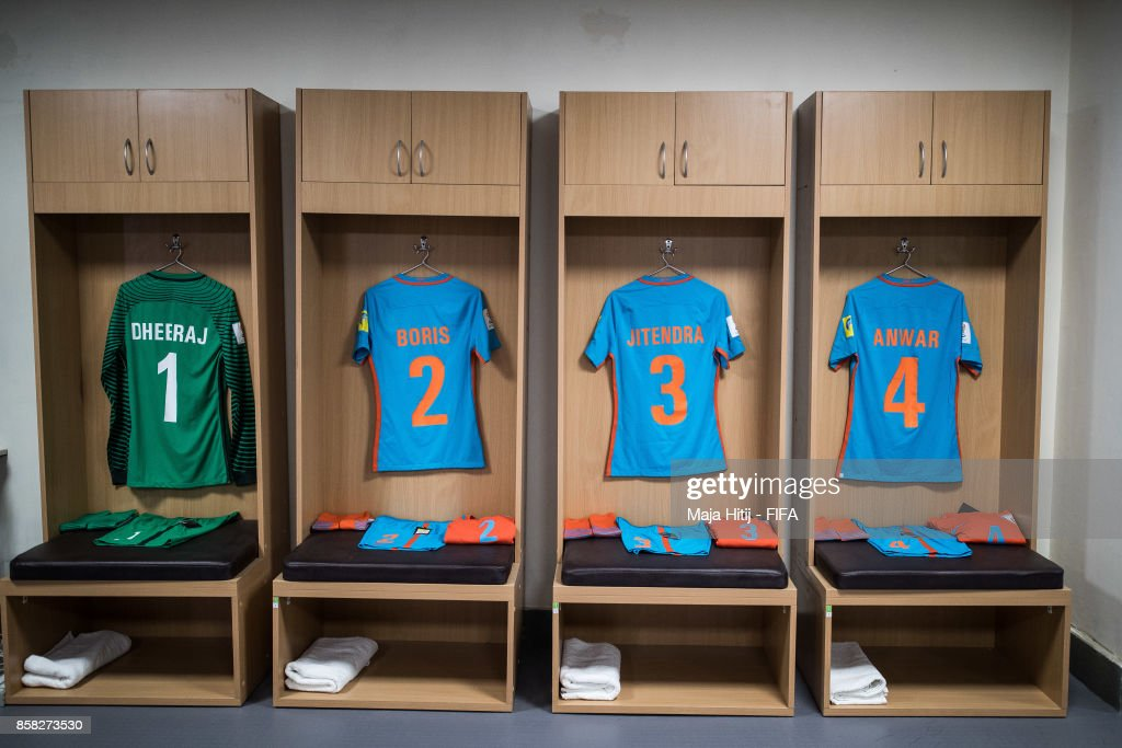 Locker room of India prior the FIFA U-17 World Cup India 2017 group A match between India and USA at Jawaharlal Nehru Stadium on October 6, 2017 in New Delhi, India.