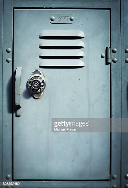locker with combination lock - locker stock pictures, royalty-free photos & images