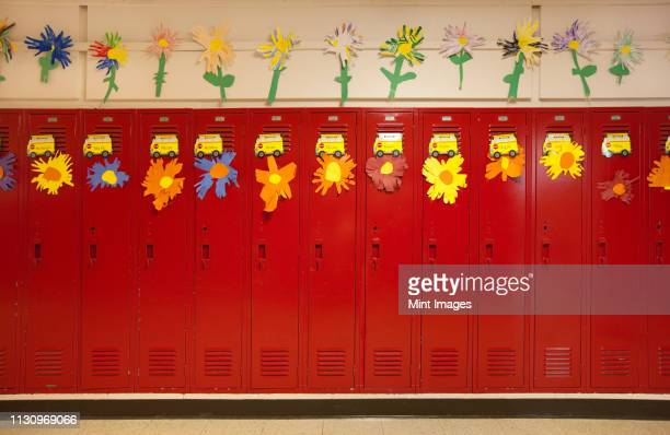 lockers in a school hallway - state school stock pictures, royalty-free photos & images