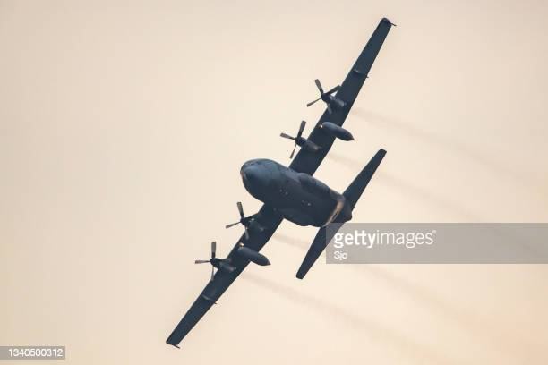 """lockheed c-130 hercules military airplane flying in mid air during sunset - """"sjoerd van der wal"""" or """"sjo"""" stock pictures, royalty-free photos & images"""