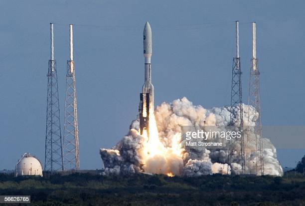 Lockheed Martin Atlas 5 rocket lifts off of pad 41 carrying NASA's Pluto New Horizons spacecraft at the Kennedy Space Center January 19, 2006 in Cape...