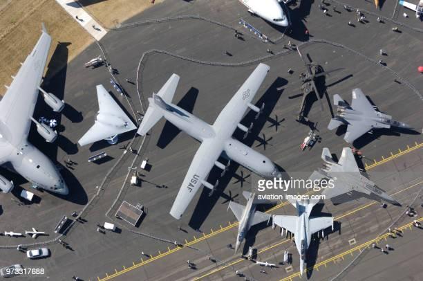 Lockheed Martin C130J30 Hercules Boeing C17A Globemaster III US Navy USN X45N NUCAS fullscale mockup F16CJ Fighting Falcon F15C Eagle F15E Strike...