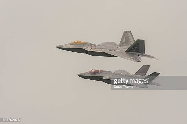 Lockheed Martin F22 Raptor and Lockheed Martin F35 Lightning at RAF Fairford on July 9 2016 in Fairford England