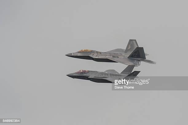 Lockheed Martin F22 Raptor and Lockheed Martin F35 Lightning at RAF Fairford on July 09 2016 in Fairford England