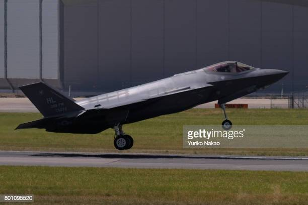 Lockheed Martin F35A Lightning II lands after an aerial display over the Le Bourget Airport on the first public day of the 52nd International Paris...