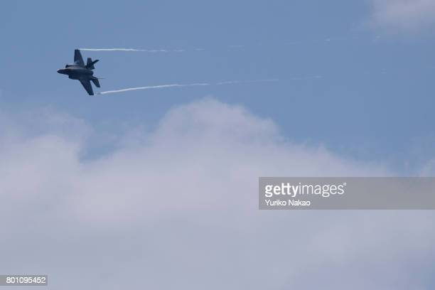 Lockheed Martin F35A Lightning II performs an aerial display over the Le Bourget Airport on the first public day of the 52nd International Paris Air...