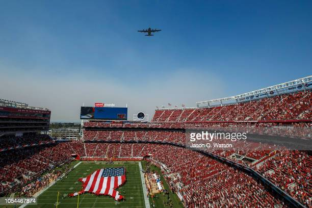 Lockheed Martin HC130J Combat King II from the United States Air Force 129th Rescue Wing California Air National Guard performs a flyover before the...