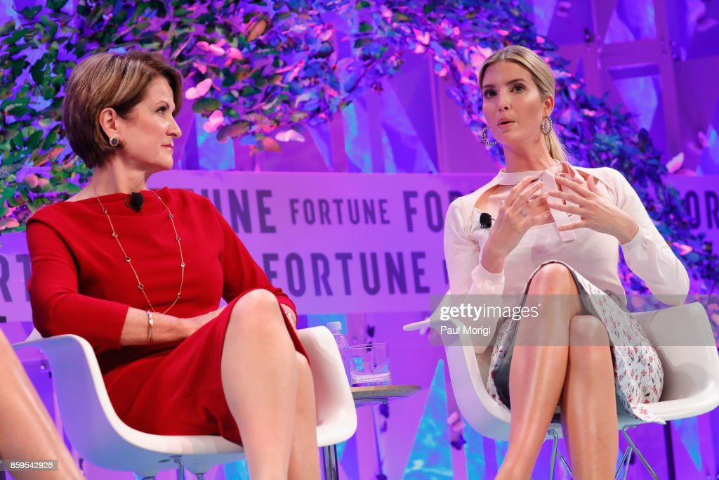 CEO, Lockheed Martin, Marillyn Hewson and Advisor to the President Ivanka Trump speak onstage at the Fortune Most Powerful Women Summit on October 9, 2017 in Washington, DC.