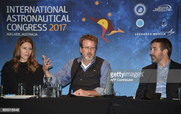 Lockheed Martin's human spaceflight strategy chief Rob Chambers system architect Tim Cichan and systems engineer Danielle Ritchey attend a press...