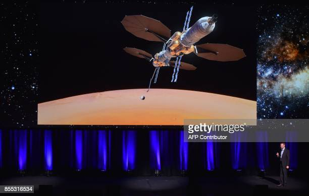 Lockheed Martin's human spaceflight system architect Tim Cichan speaks during a presentation of a planned mission to Mars at the 68th International...