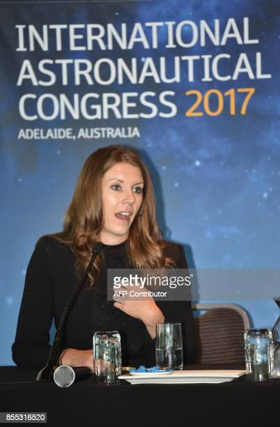 Lockheed Martin's human spaceflight systems engineer Danielle Ritchey speaks at a press conference after a presentation of a planned mission to Mars...