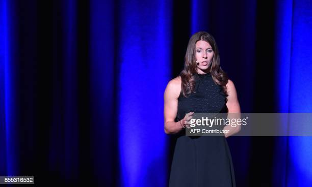 Lockheed Martin's human spaceflight systems engineer Danielle Ritchey speaks during a presentation of a planned mission to Mars at the 68th...