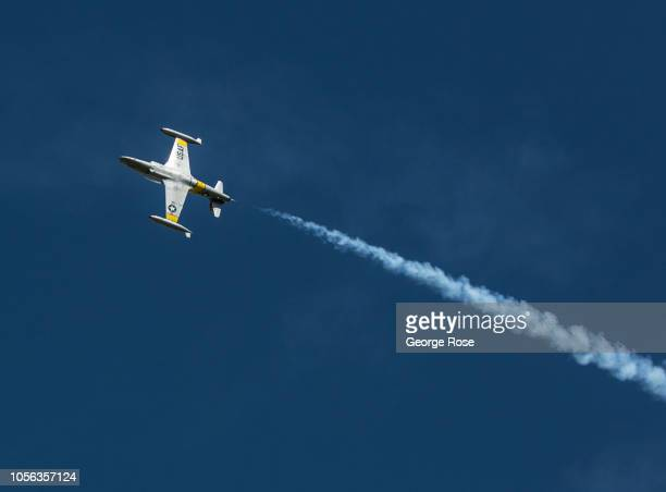 Lockheed T33 Air Force training jet goes through a series of manuevers during the 'Wings Over Wine Country' air show on September 21 in Santa Rosa...