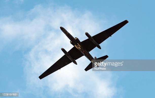 Lockheed U-2 Dragon Lady high altitude reconnaissance aircraft descends in to RAF Fairford in Gloucestershire, England on 22 August 2020.