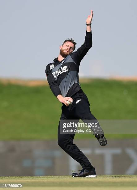 Lockie Ferguson of New Zealand bowls during the England and New Zealand warm Up Match prior to the ICC Men's T20 World Cup at on October 20, 2021 in...