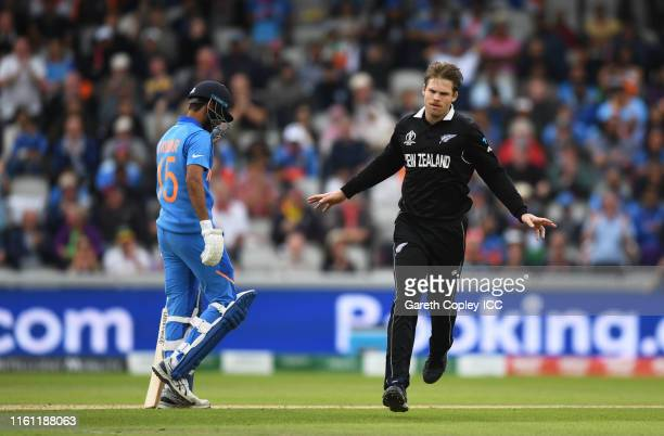 Lockie Ferguson of New Zealand celebrates after dismissing Bhuvneshwar Kumar of India during the Semi-Final match of the ICC Cricket World Cup 2019...