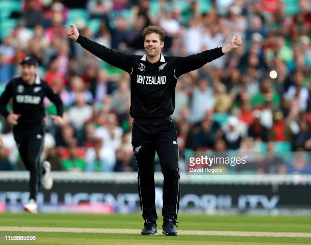 Lockie Ferguson of New Zealand celebrates after taking the wicket of Tamim Iqbal Khan during the Group Stage match of the ICC Cricket World Cup 2019...