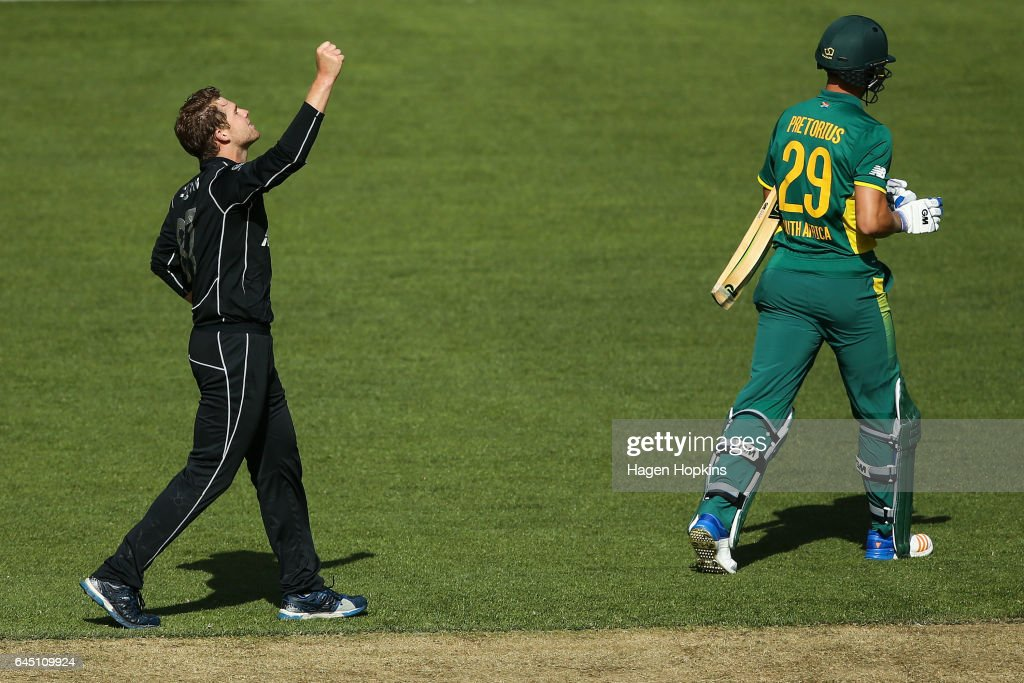 Lockie Ferguson of New Zealand celebrates after taking the wicket of Dwaine Pretorius of South Africa during game three of the One Day International series between New Zealand and South Africa at Westpac Stadium on February 25, 2017 in Wellington, New Zealand.