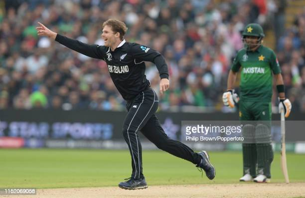 Lockie Ferguson of New Zealand celebrates after the dismissal of Imam-ul-Haq of Pakistan during the ICC Cricket World Cup Group Match between New...