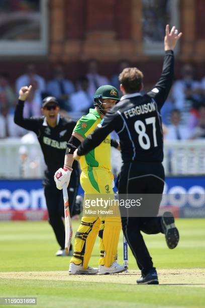 Lockie Ferguson of New Zealand celebrates dismissing David Warner of Australia during the Group Stage match of the ICC Cricket World Cup 2019 between...