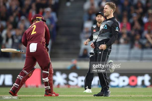 Lockie Ferguson of New Zealand celebrates his wicket of Shimron Hetmyer of the West Indies during game one of the International T20 series between...