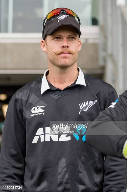 Lockie Ferguson of New Zealand looks on prior to Game 2 of the One Day International series between New Zealand and Bangladesh at Hagley Oval on...