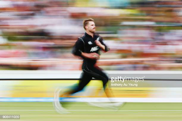Lockie Ferguson of New Zealand runs up to bowl during game four of the One Day International Series between New Zealand and Pakistan at Seddon Park...