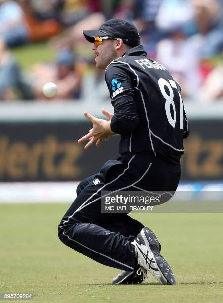 Lockie Ferguson of New Zealand takes a catch to dismiss West Indies Shimron Hetmyer during the first ODI cricket match between New Zealand and the...