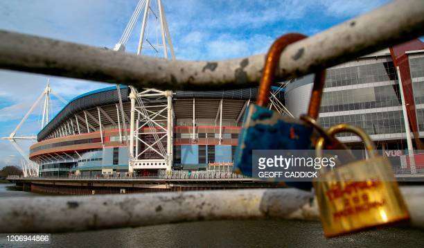 TOPSHOT Locks are seen in front of the Principality Stadium in Cardiff Wales on March 13 2020 This weekend's Six Nations international between Wales...