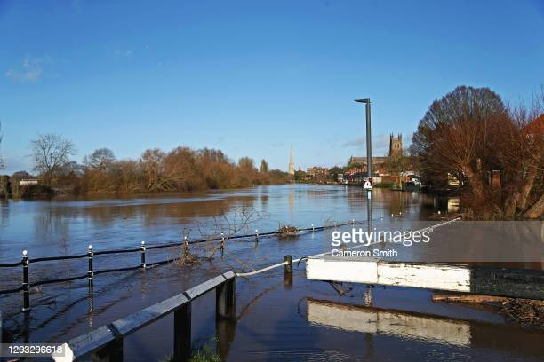 """Locks flooded on December 27, 2020 in Worcester, England. """"Storm Bella"""" brought gales and heavy rain to the West Midlands, and caused a severe..."""