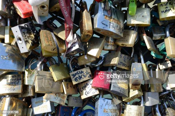 Locks hung by lovers on the Pont des Arts in Paris on October 20 2015 in Paris France
