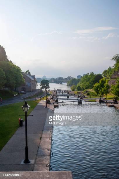 locks in rideau canal under blue sky, ottawa - リドー運河 ストックフォトと画像