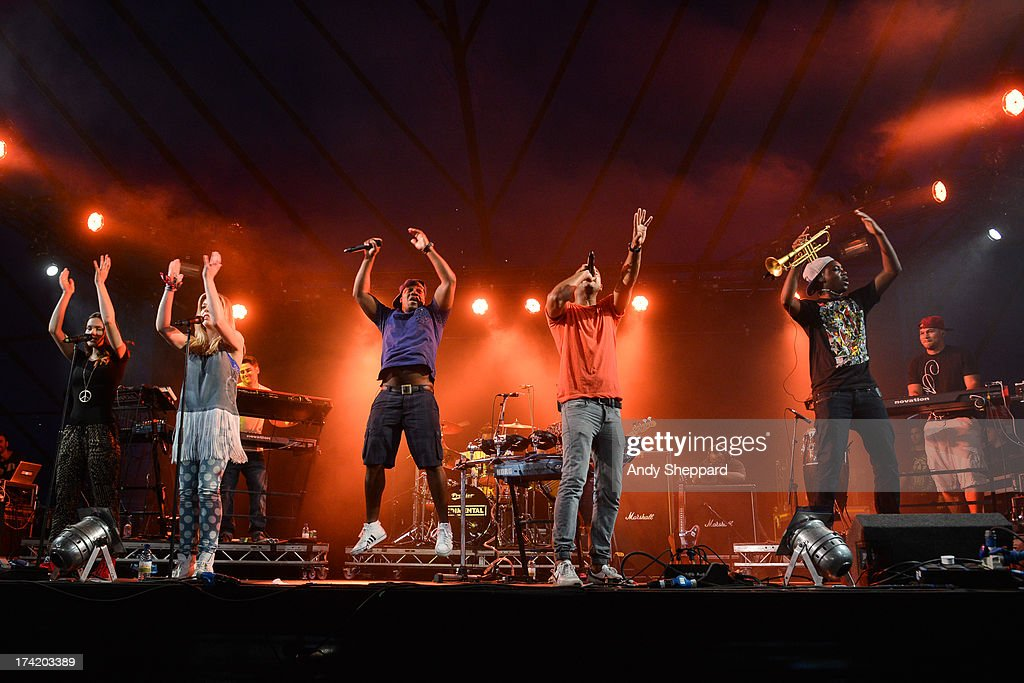 DJ Locksmith, Amir Amor and Kesi Dryden of the band Rudimental perform on stage on Day 4 of Latitude Festival 2013 at Henham Park Estate on July 21, 2013 in Southwold, England.