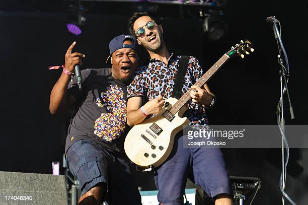 Locksmith and Ami Amor of Rudimental performs on Day 1 of the Lovebox festival at Victoria Park on July 19 2013 in London England