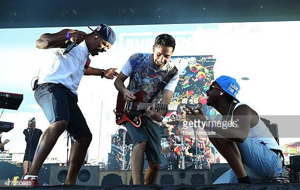 Locksmith and Amir Amor of Rudimental perform live for fans as part of the 2014 Future Music Festival at Royal Randwick Racecourse on March 8 2014 in...