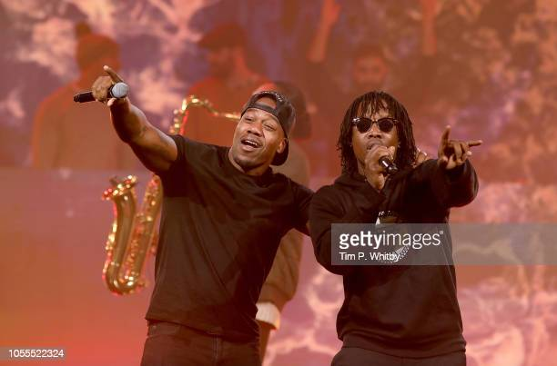 Locksmith and Rudimental perform on stage during Westfield London's 10th anniversary celebrations at Westfield White City on October 30 2018 in...