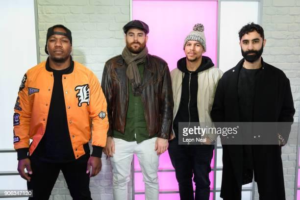 DJ Locksmith Piers Aggett Kesi Dryden and Amir Amor of UK group Rudimental visit Kiss FM Studio's on January 18 2018 in London England