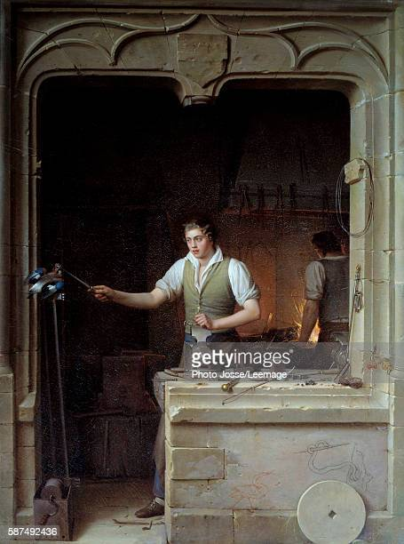 A locksmith seeking to make a jay bite his metal file Illustration for Jean de La Fontaine's Fables Painting by JeanAntoine Laurent 1829 086 x 065 m...